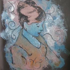 Bleu, acrylique et huile sur toile, 85x71cm.