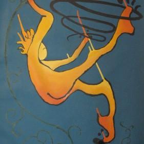 La chute, acrylique sur toile 80 x 53 cm