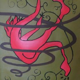 La chute, acrylique sur toile, 80x53cm