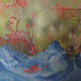 La maison de campagne, acrylique sur toile 71x91 cm